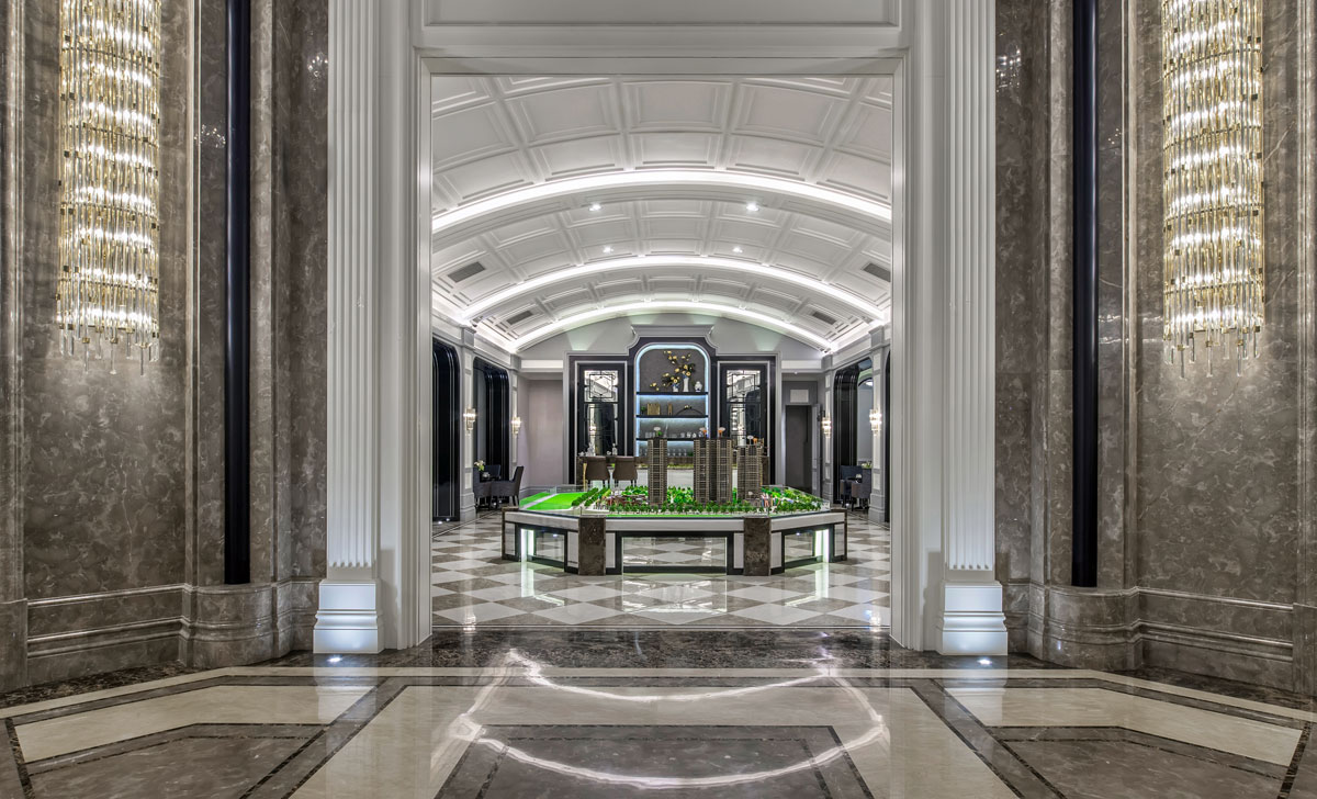 Commercial interior design with marble detailing for Poly Garden Presentation Center