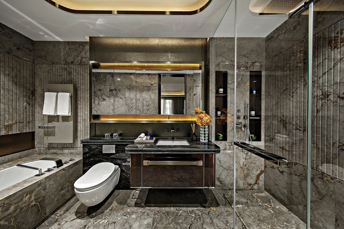 Marble bathroom interior design for Shanghai residence
