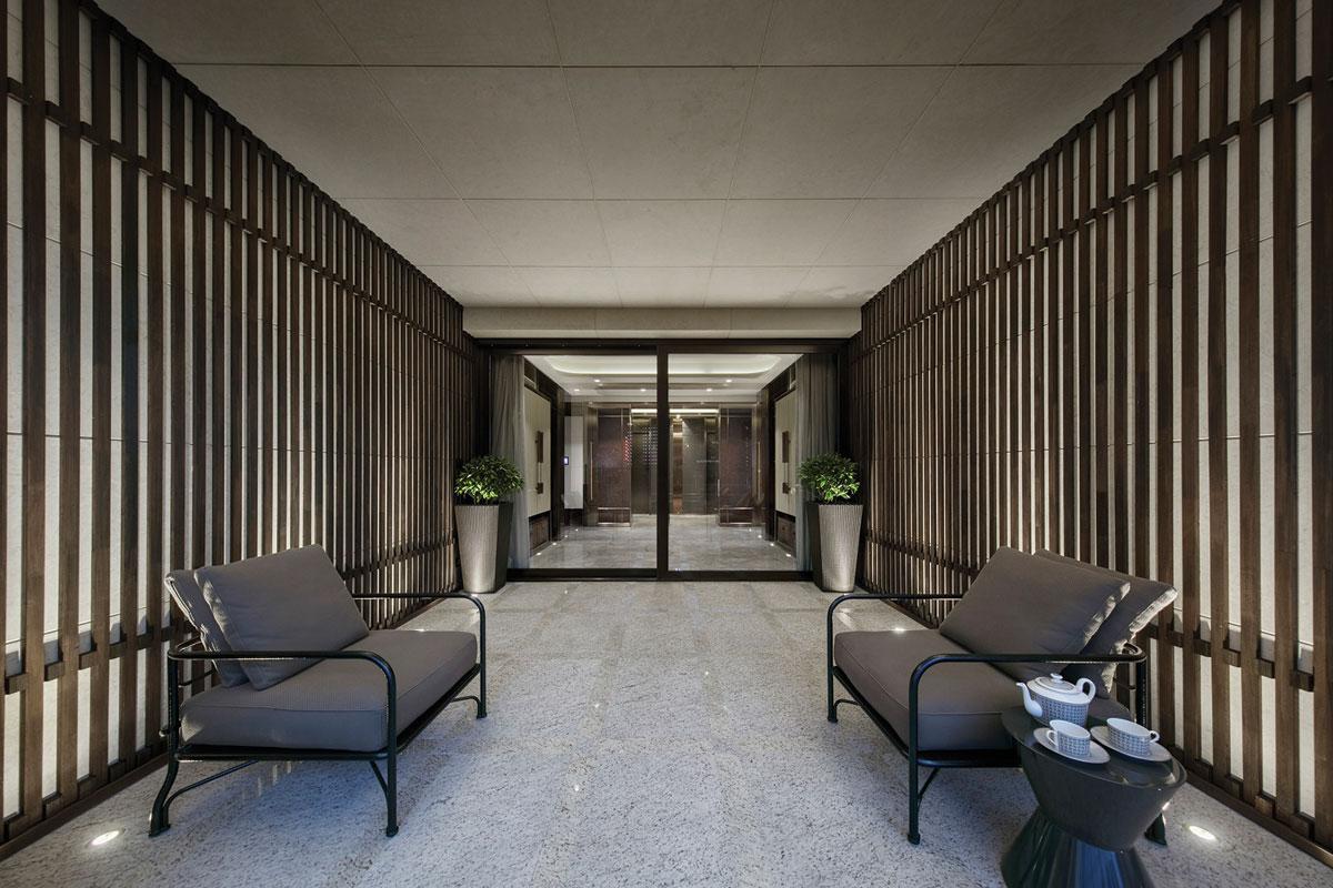 Interior entrance lobby for One Hyde Park residential development