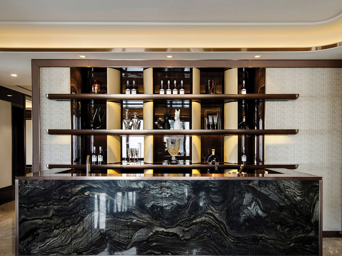 Interior design featuring marble bar for residential development