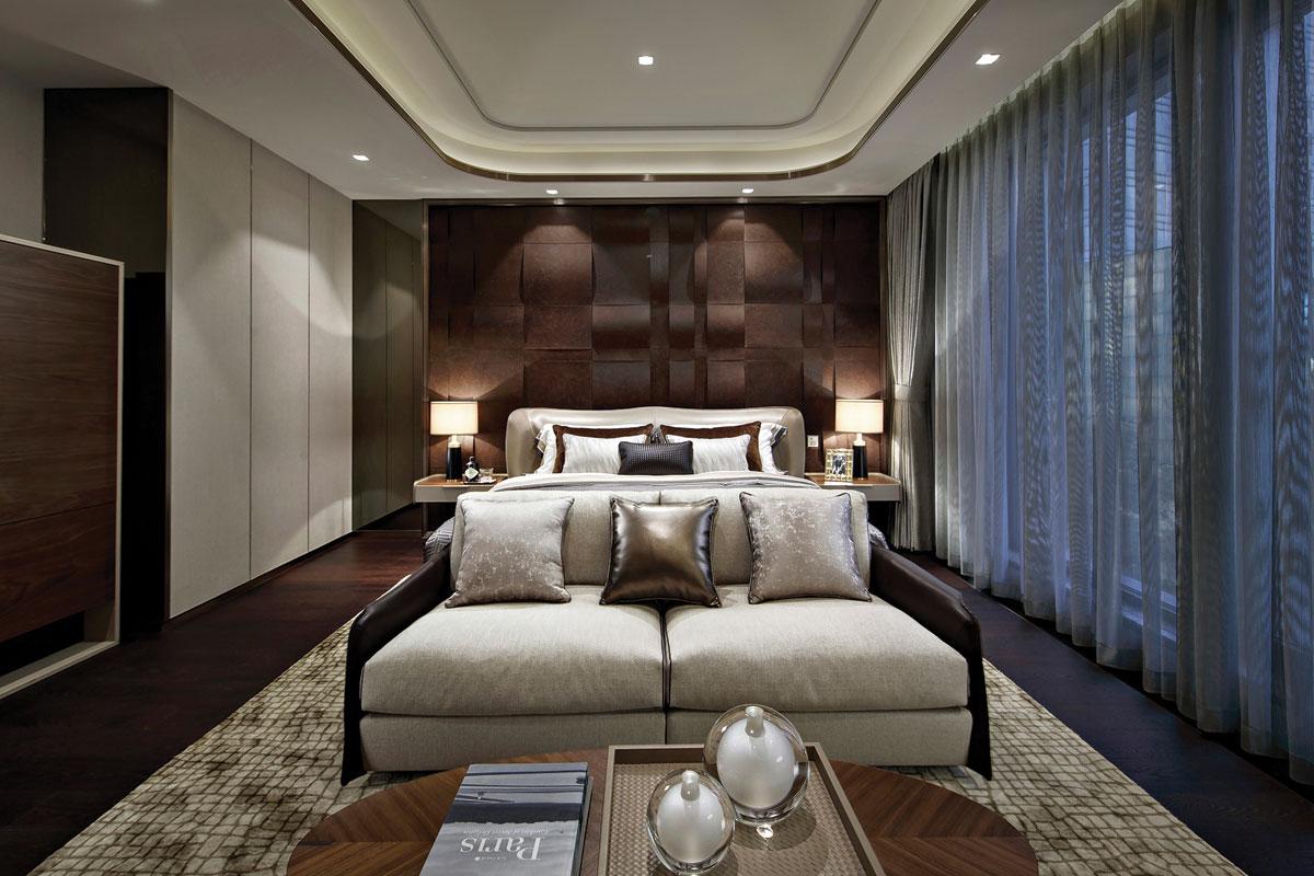 Bedroom interior design for One Hyde Park, Shanghai residential development