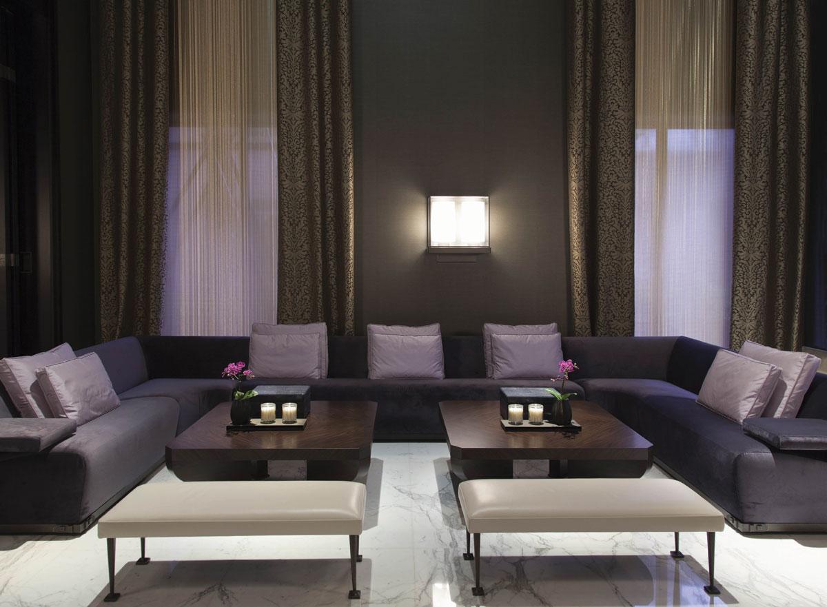 Peace Palace lobby area with purple sofa