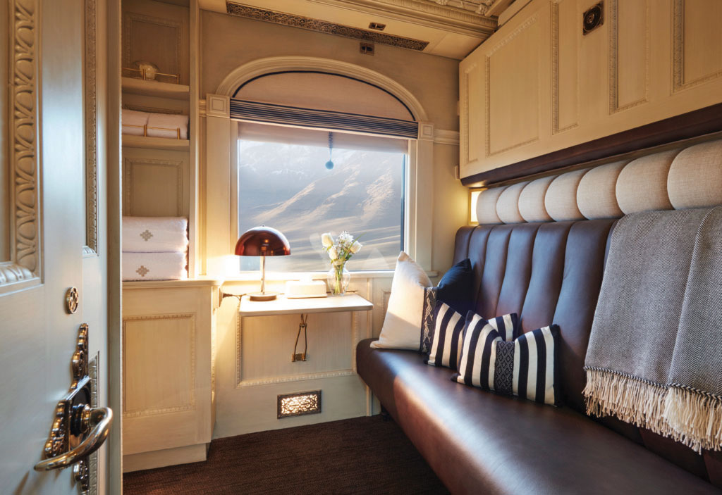 Interior of private passenger carriage for the Belmond Andean Explorer train