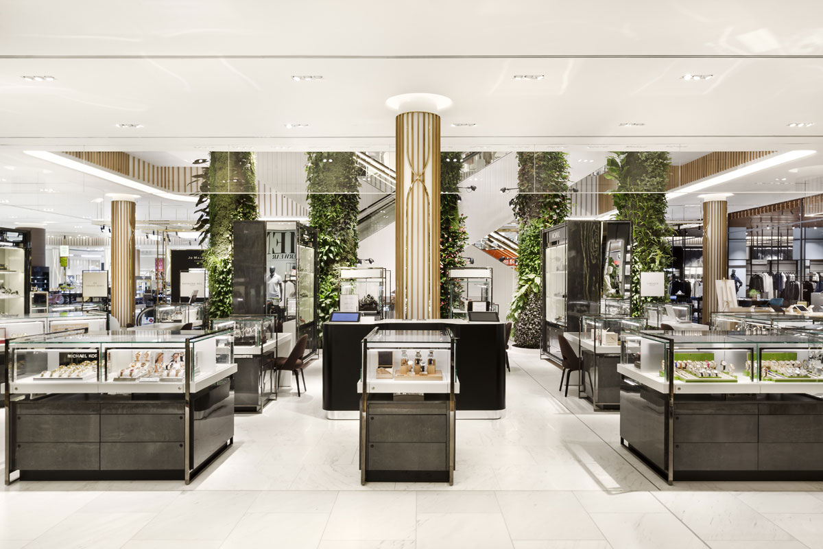 Jewellery and watches department in luxury shopping centre design