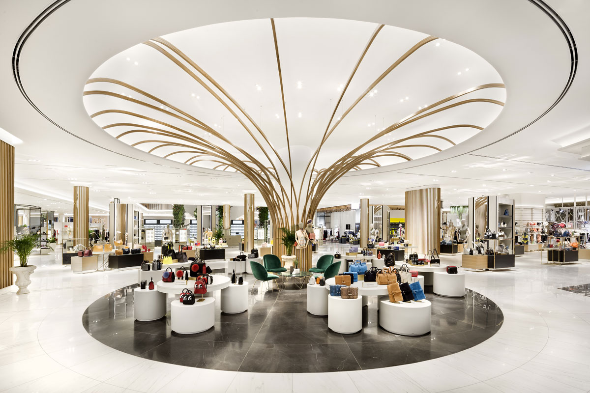 Public space design feature in retail department store for Robinsons, Dubai