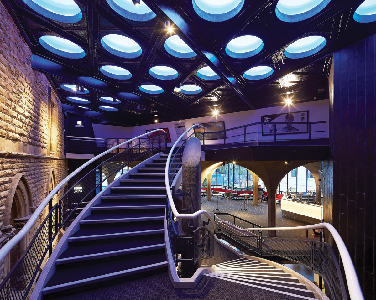 Public staircase lighting feature design in York Theatre Royal