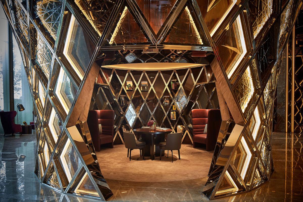 Interior design for seating zone in hotel