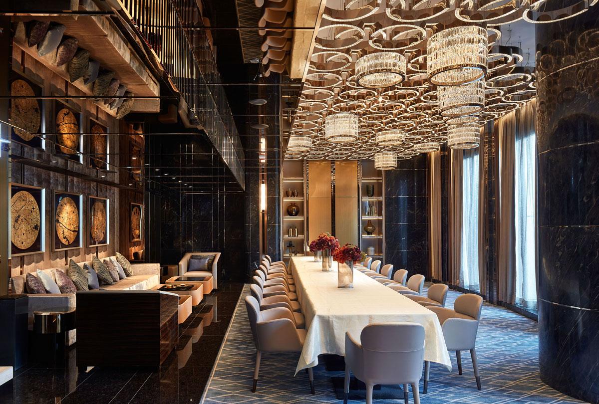 Dining room interior design with opulent lighting