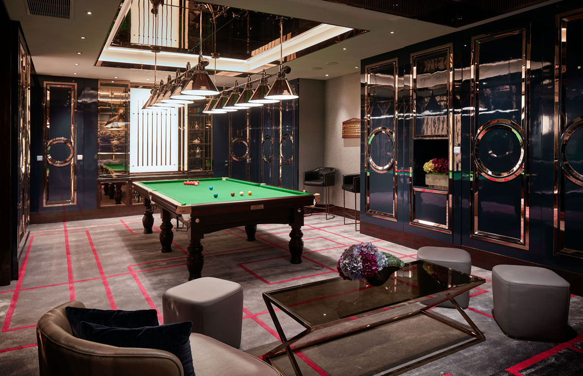 Leisure room with pool table and seating area