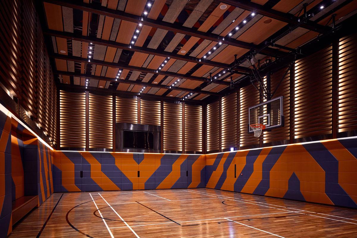 Basketball court interior