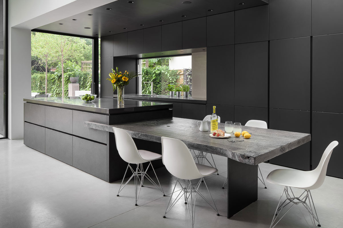 Sleek Kitchen Design Compliments Asymmetric Architecture