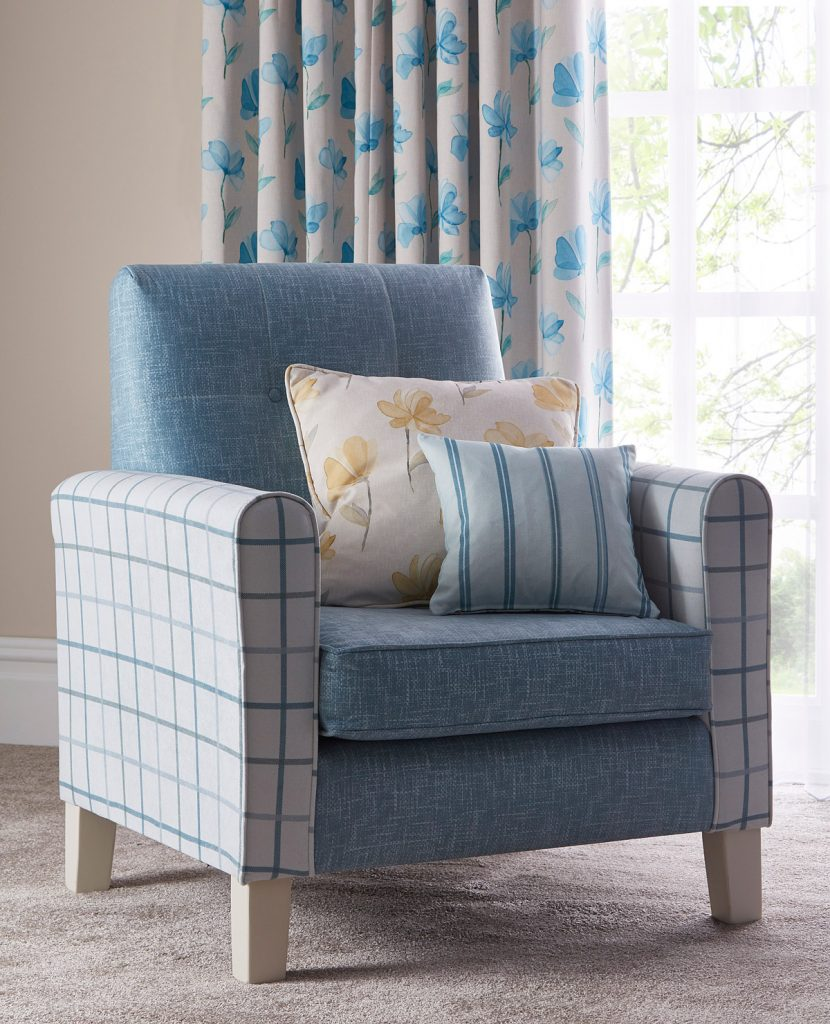 Bespoke fabric design blog by Bespoke by Evans featuring Evans Textiles bedroom scheme armchair detail