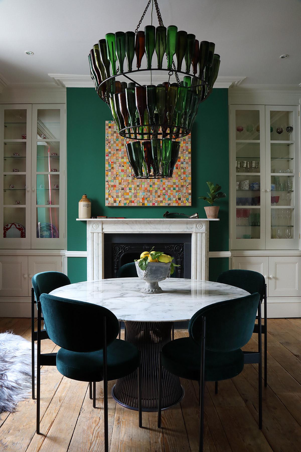 Interior designer, Ana Engelhorn project image of dining room interior with fireplace