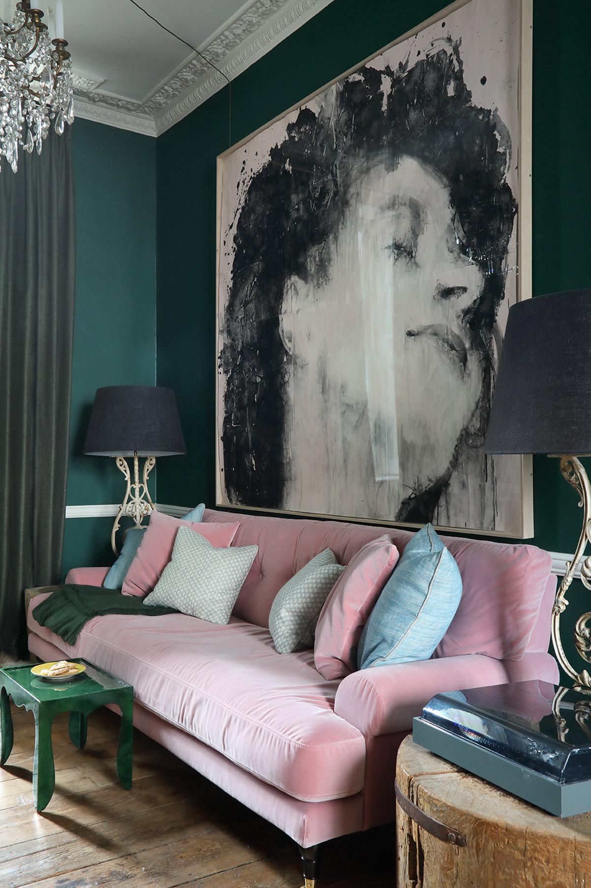 Interior designer, Ana Engelhorn project image of living room interior with pink sofa