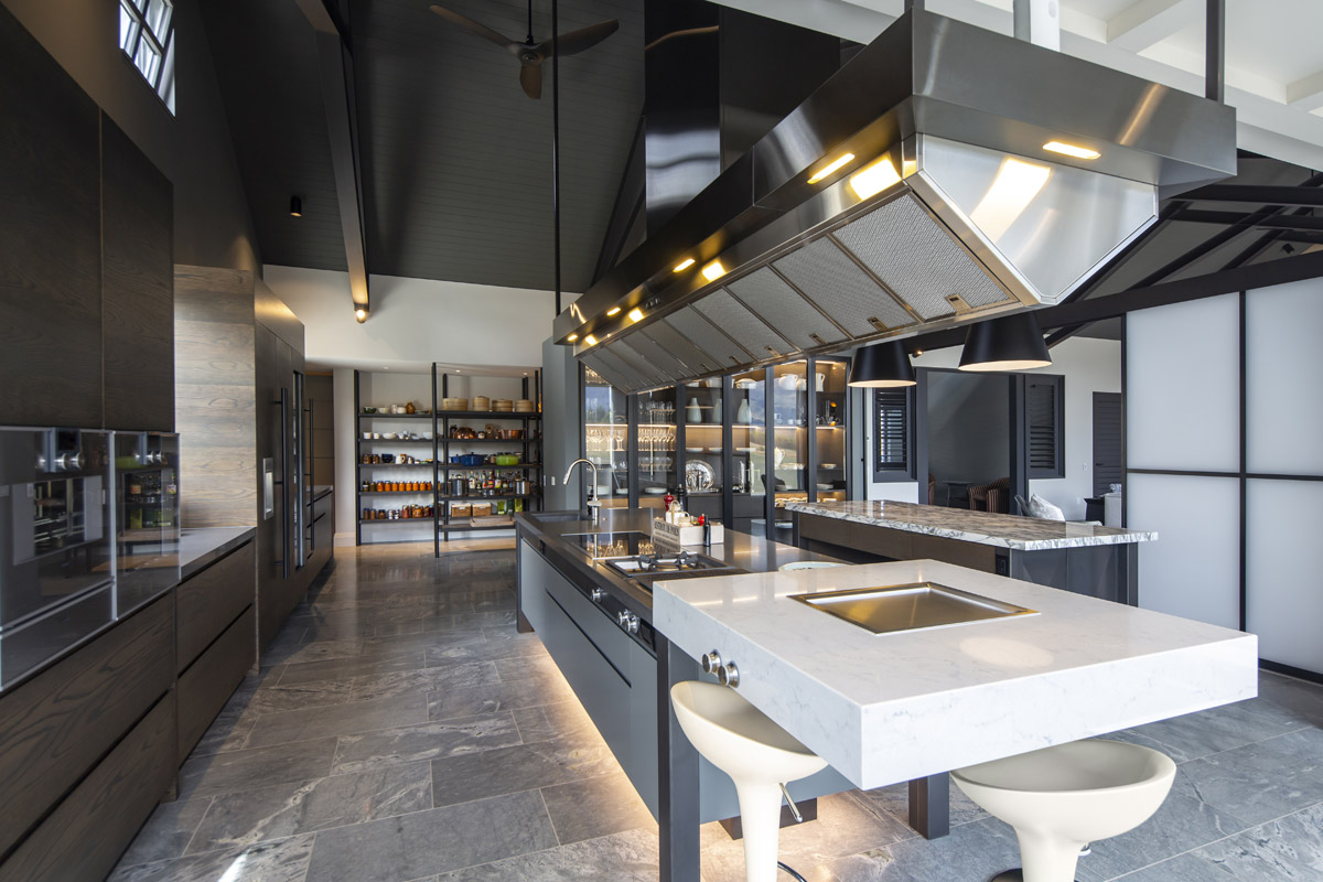 Contemporary Kitchen Design with Commercial Modernity and Oriental Influence