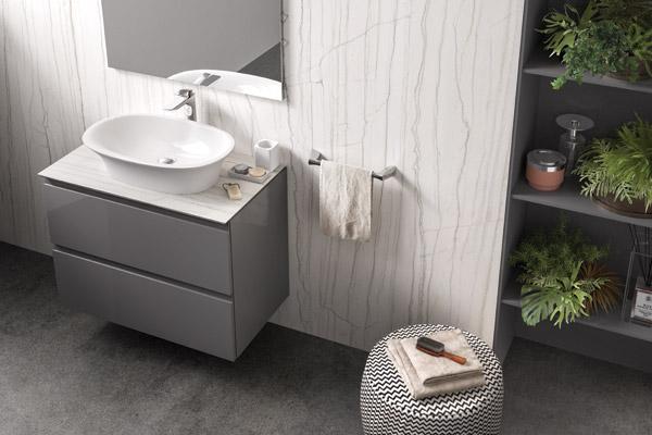 Product news featuring bathroom interior with RAK Ceramics' RAK Previous wash basin