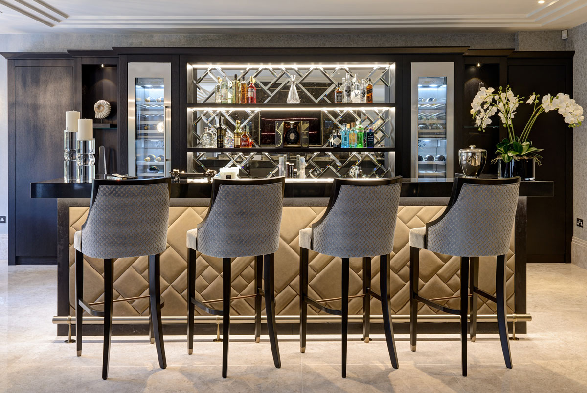 Residential design by Hill House Interiors featuring luxury bar area
