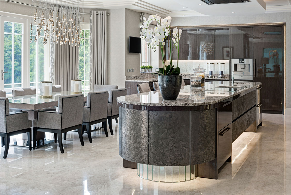 Residential design by Hill House Interiors featuring kitchen dining room