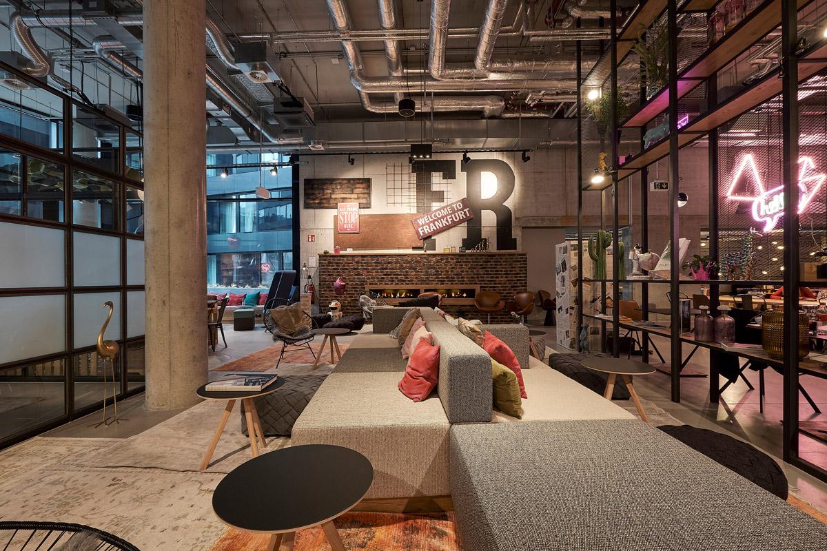 Hotel public space design by JOI Design for Moxy Frankfurt City Centre hotel
