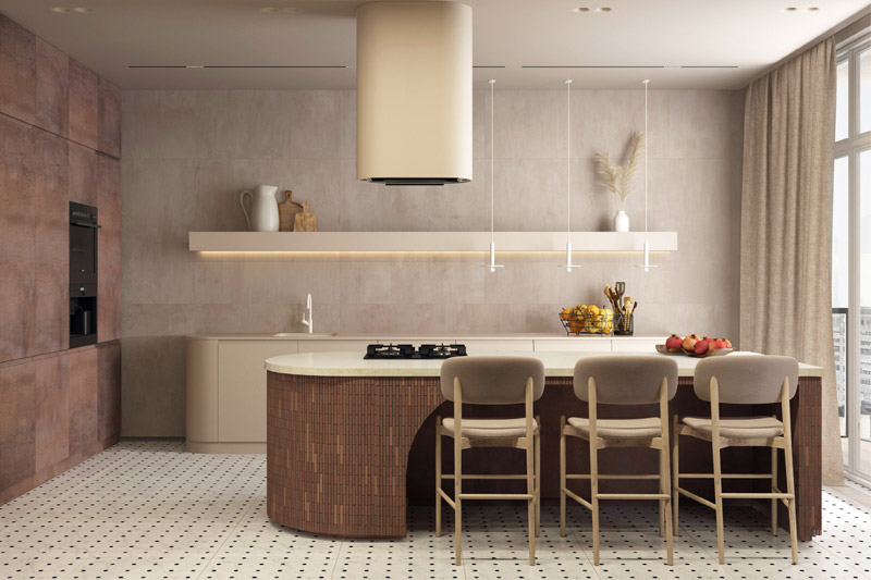 Interior design student CGI visuals of kitchen interior for SBID student competition, Get me 2 the Top