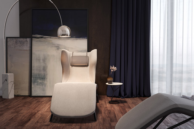 Interior product design student CGI visuals of arm chair in interior setting for SBID student competition