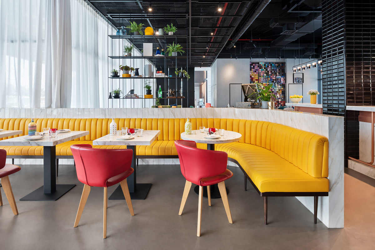 hotel public space, Hotel Pubilc Space Boasts a Vibrant, Playful and Immersive Design