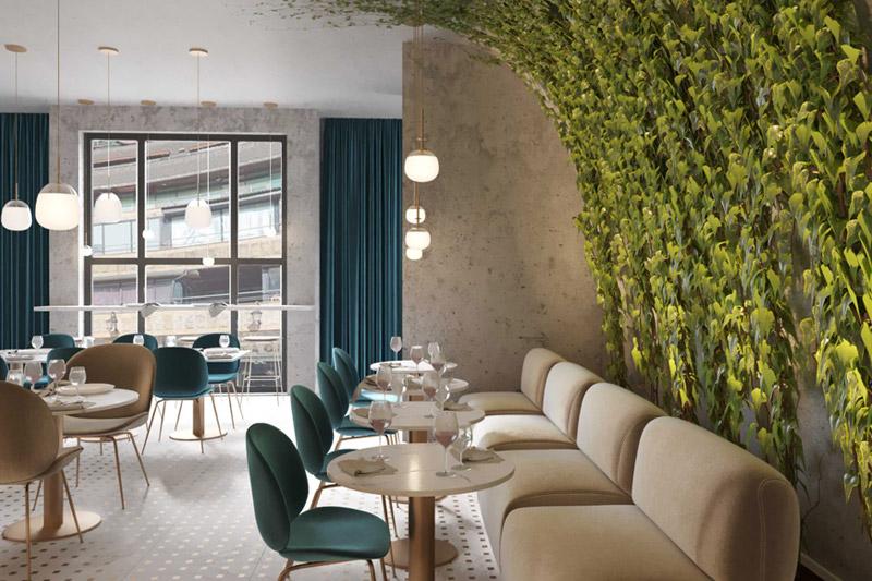 Interior design student CGI visuals of restaurant interior for SBID student competition