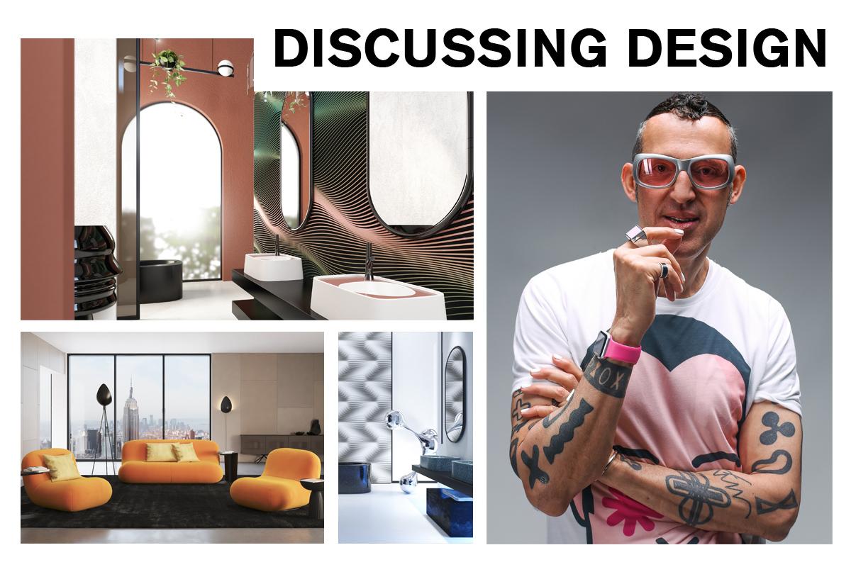 Discussing Design with product designer, Karim Rashid