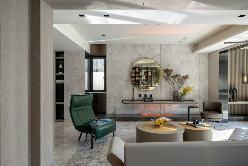 Contemporary living room interior design for luxury apartment with concrete surfaces and modern seating