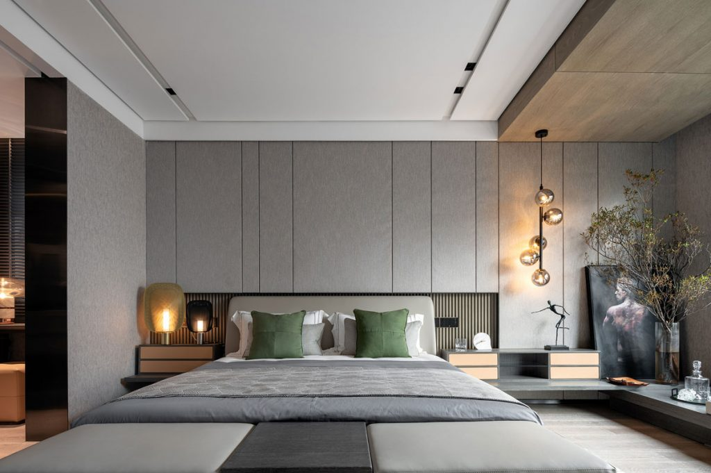 Contemporary bedroom interior styling for residential apartment