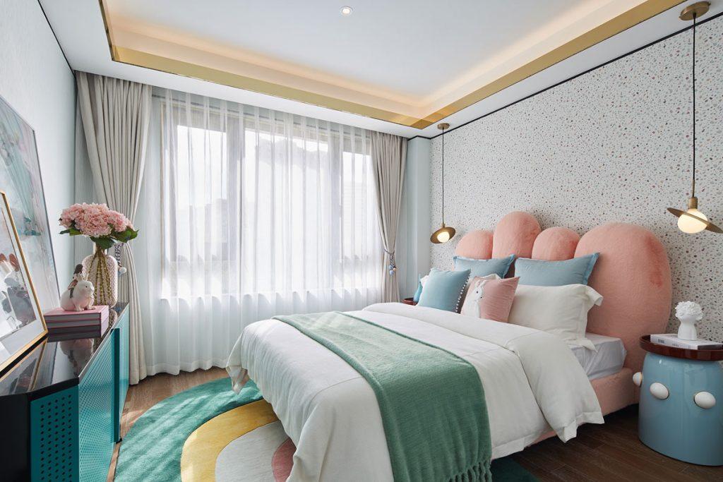 Playful children's bedroom interior with pastel colour scheme