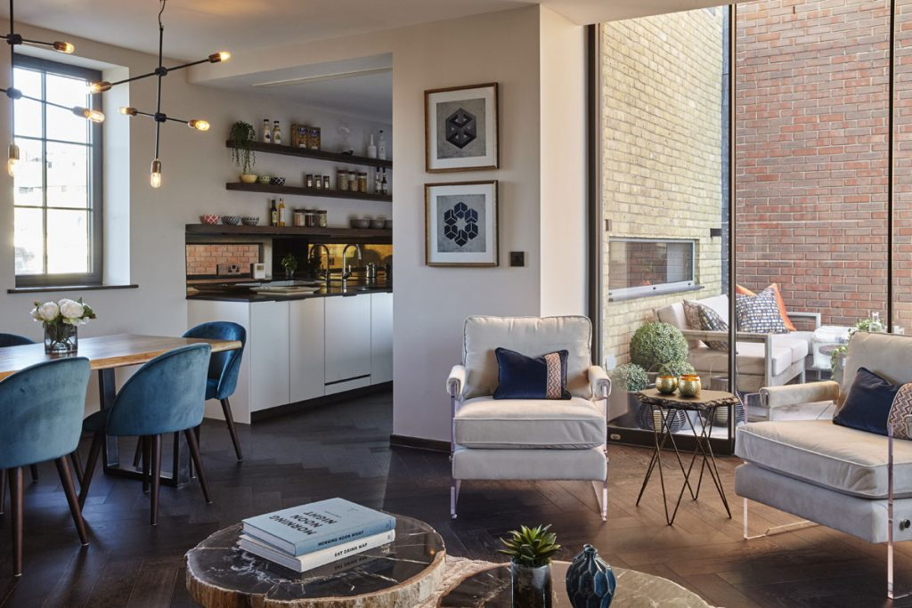 Contemporary interior design for living area and kitchen