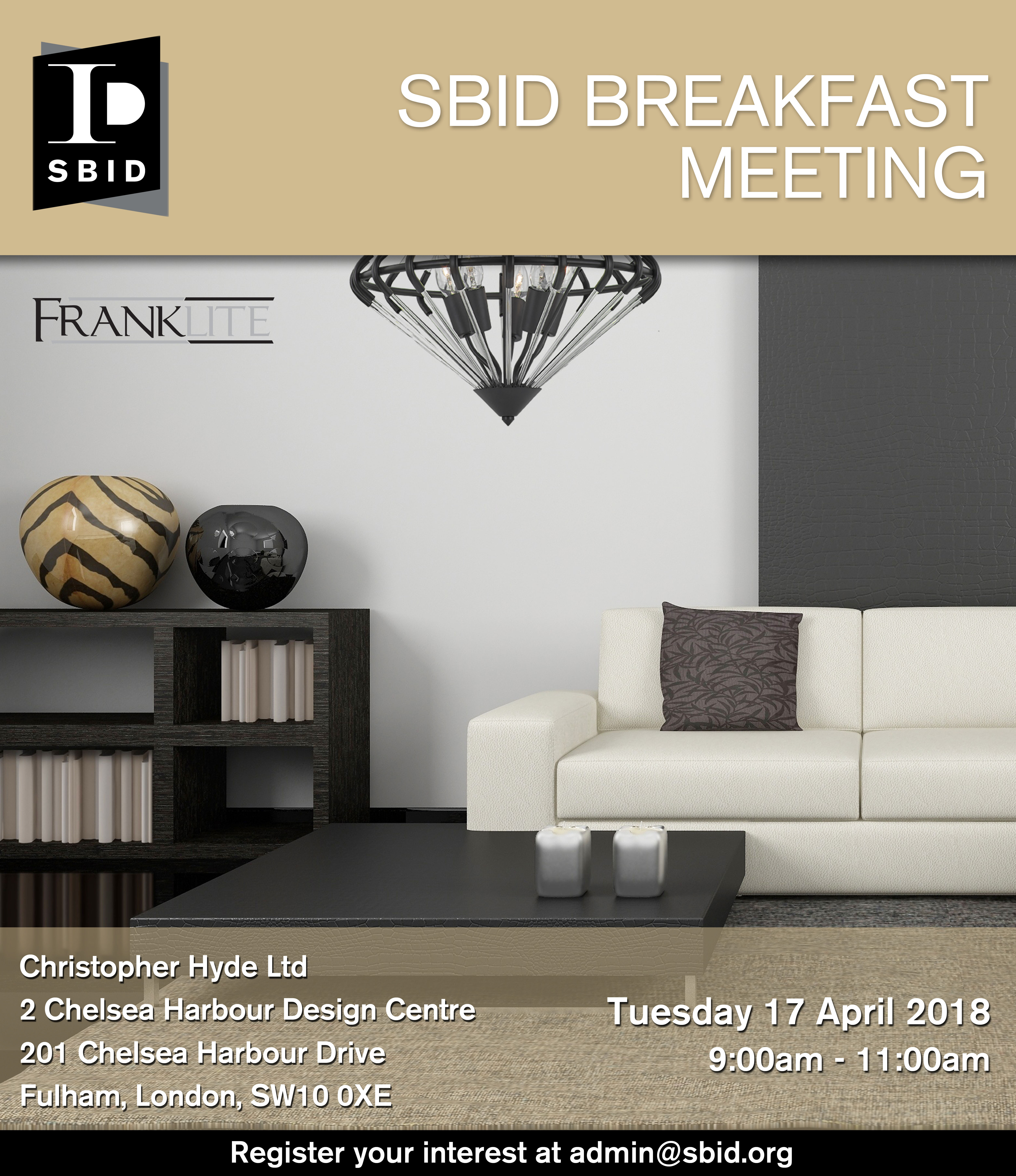 SBID Interior Design Business Breakfast Meeting Invitation