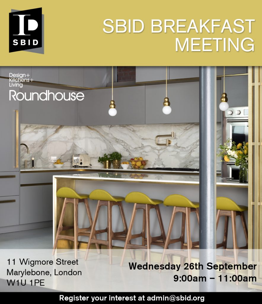 SBID interior design events invitation for Business Breakfast Meeting September 2018