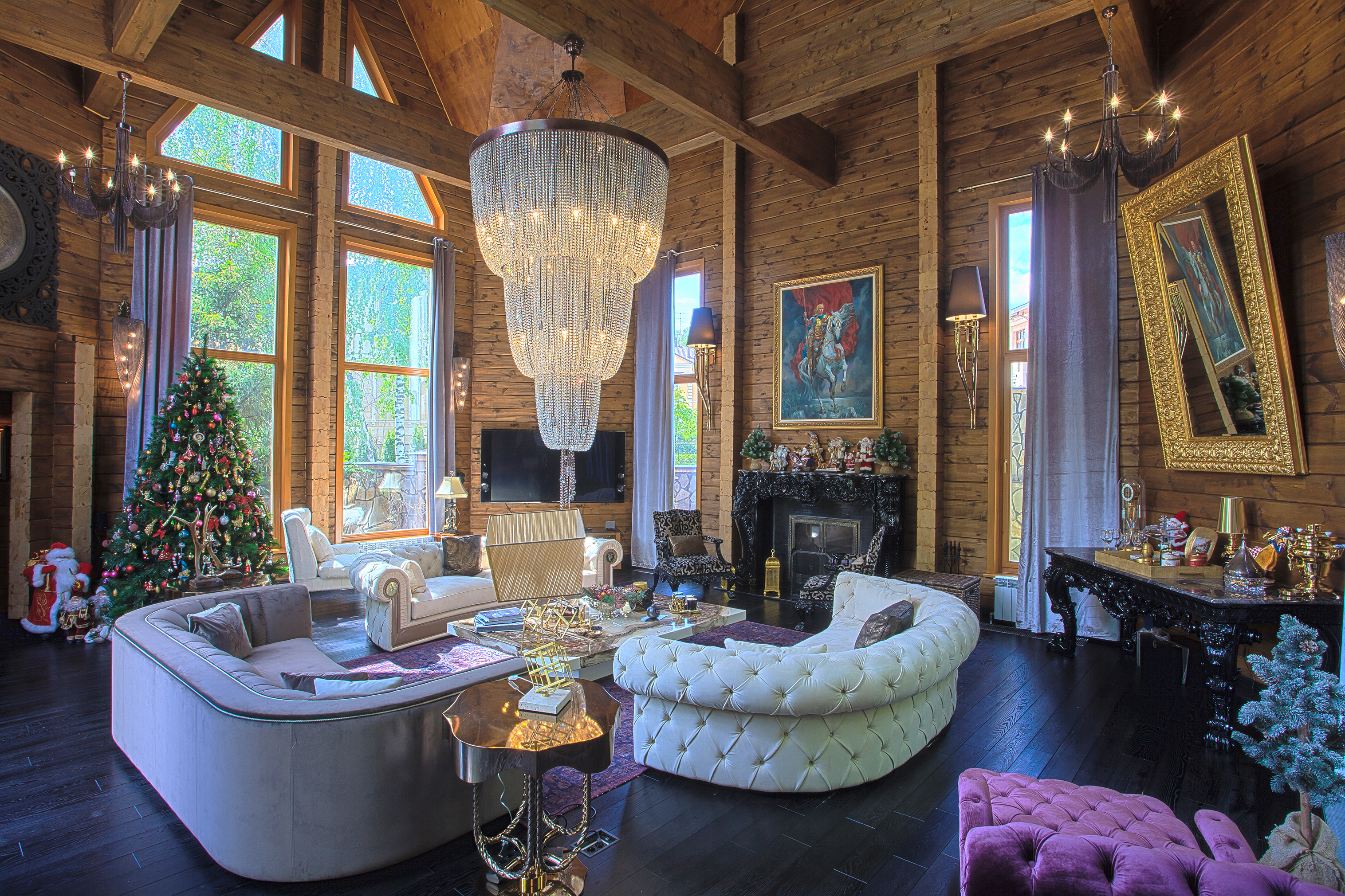orkun indere interiors, christmas, christmas design, design, log house, luxury, chalet, russia, interior design, luxury interiors