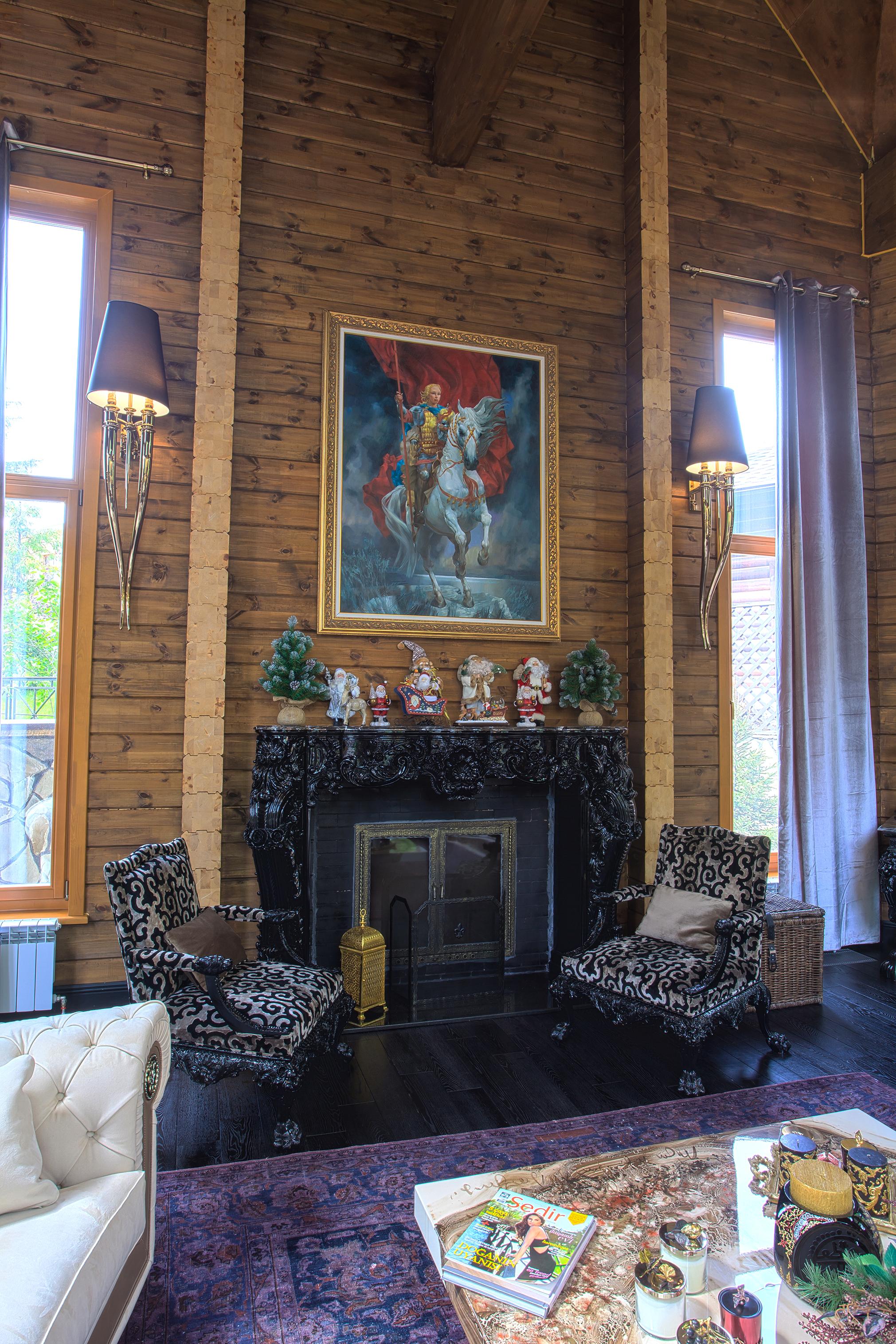 orkun indere interiors, christmas, christmas design, design, log house, luxury, chalet, russia, interior design, luxury interiors