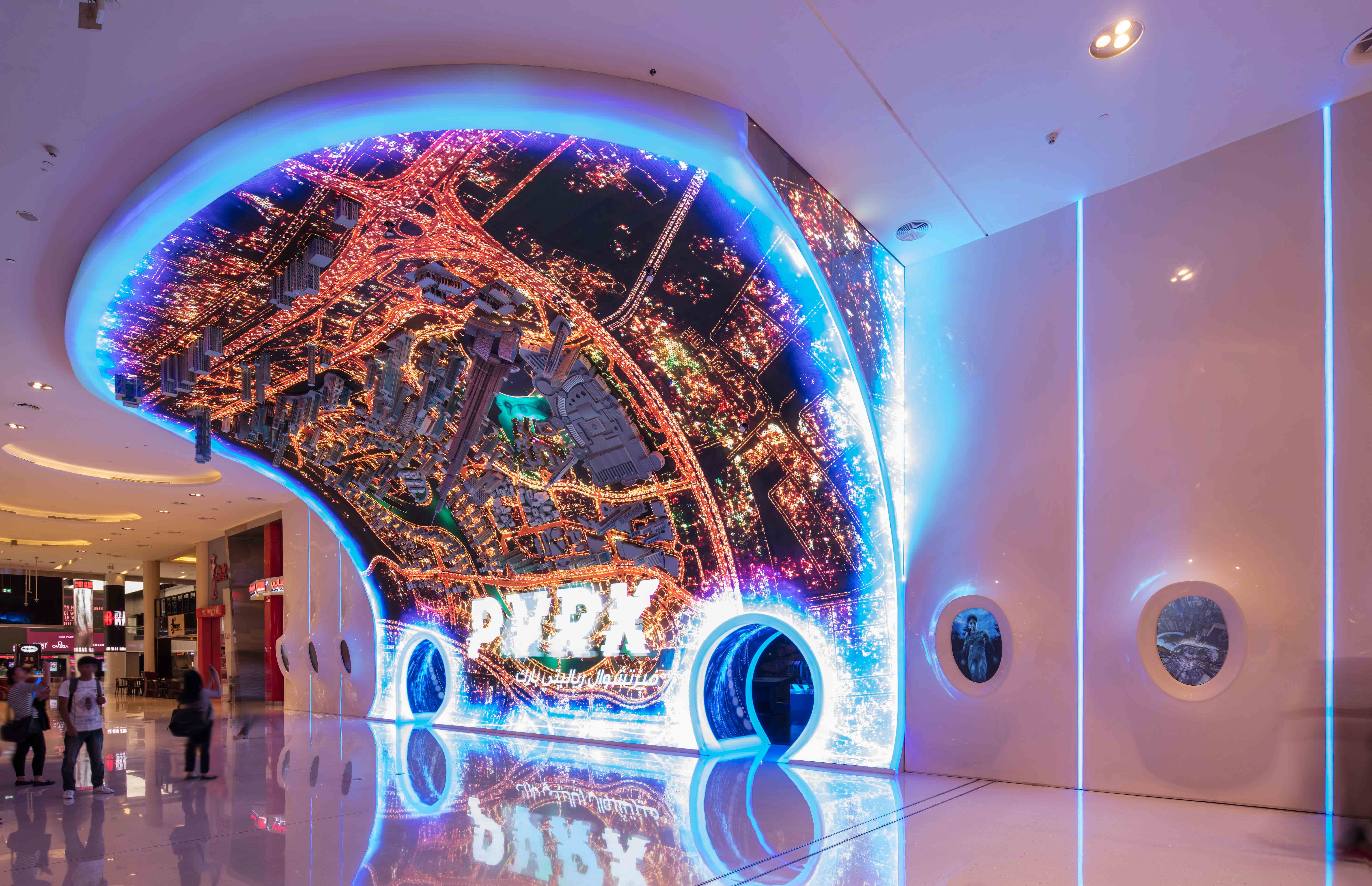Interior design of a virtual reality theme park in Dubai