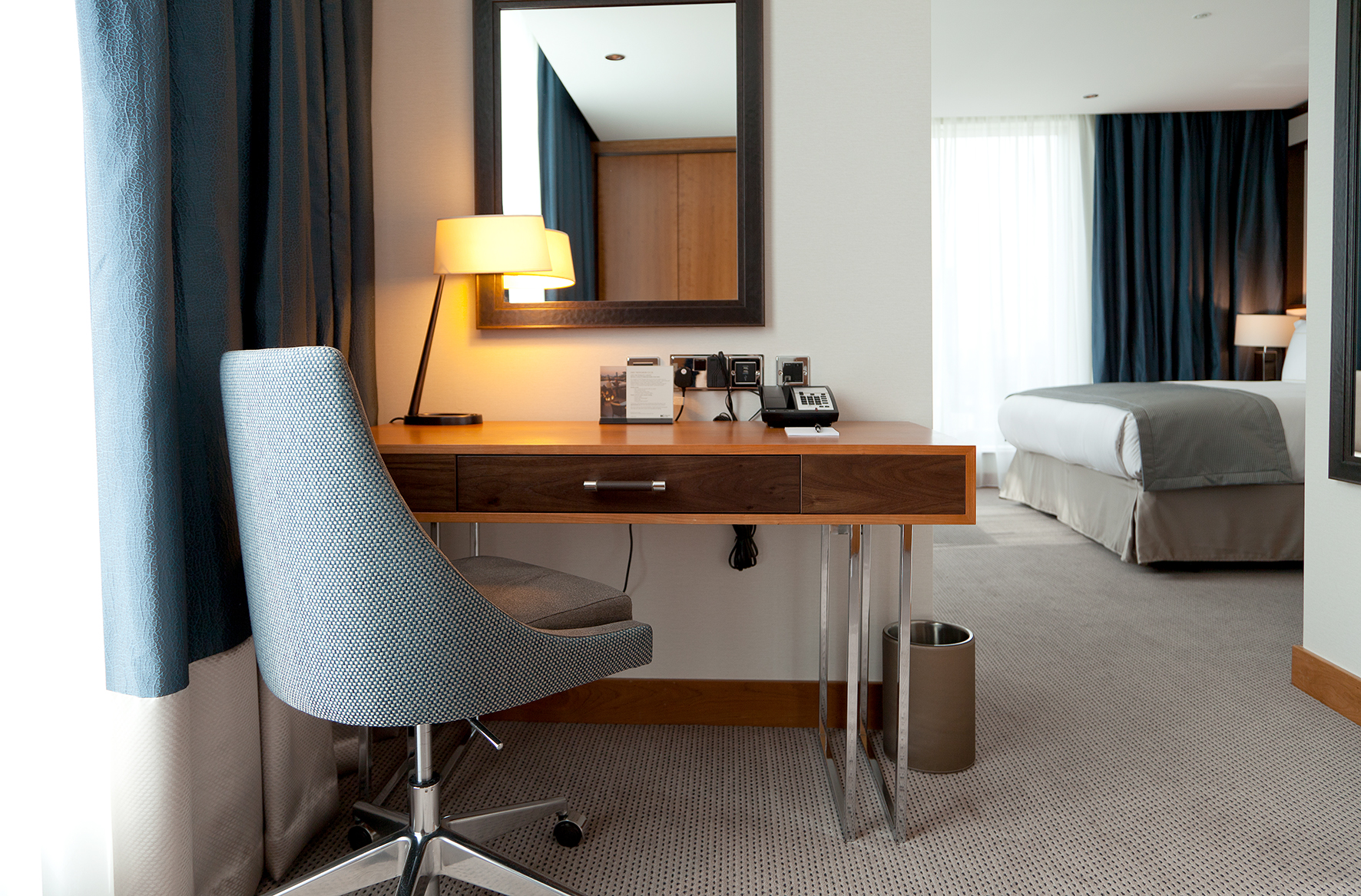 Interior hotel design of an Intercontinental Hotel bedroom at The O2