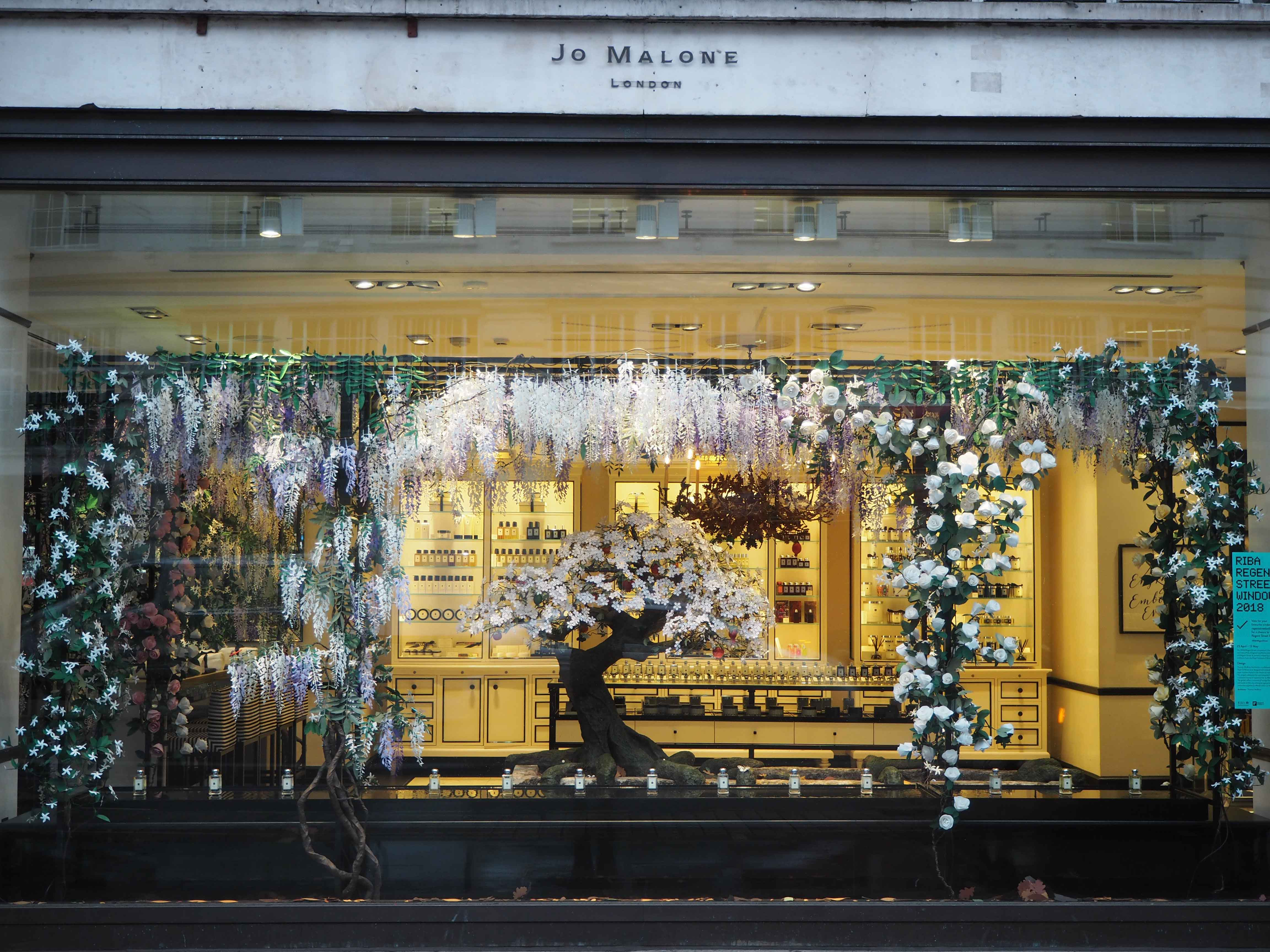 Jo Malone London interior design for visual merchandising of shop window display