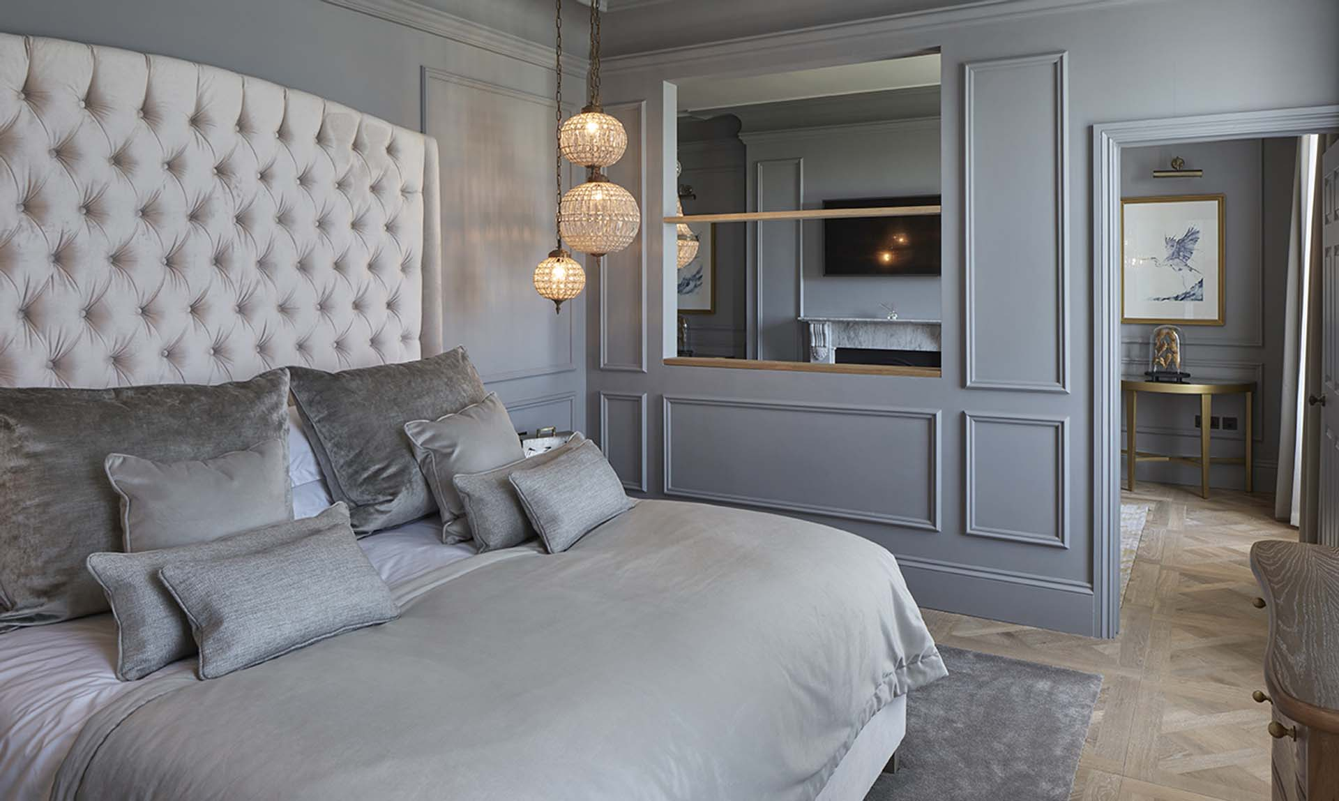 Interior design scheme for the bedrooms and suites of Lympstone Manor