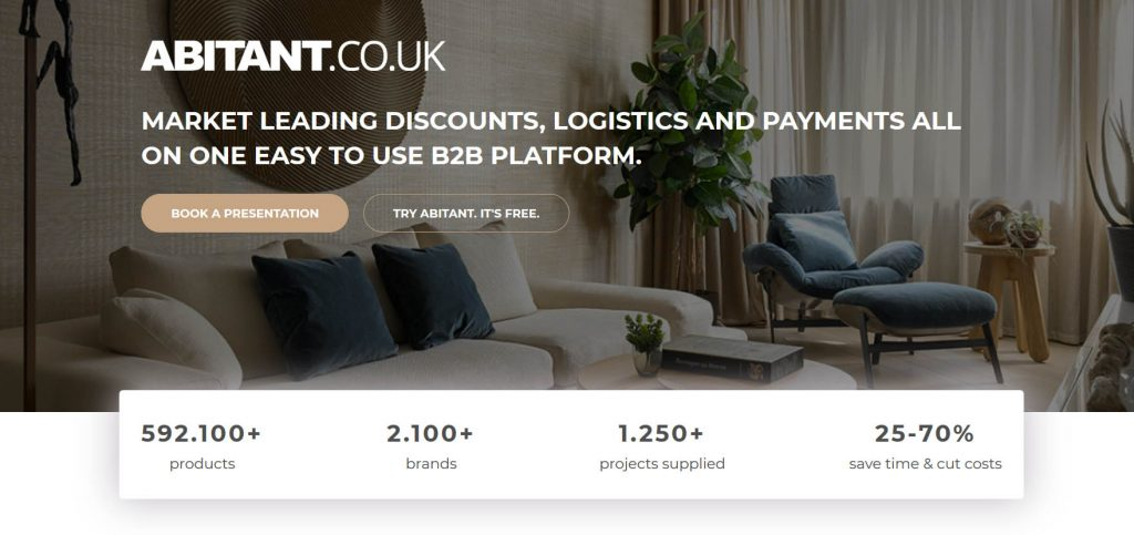Abitant landing page of their interior design solutions platform
