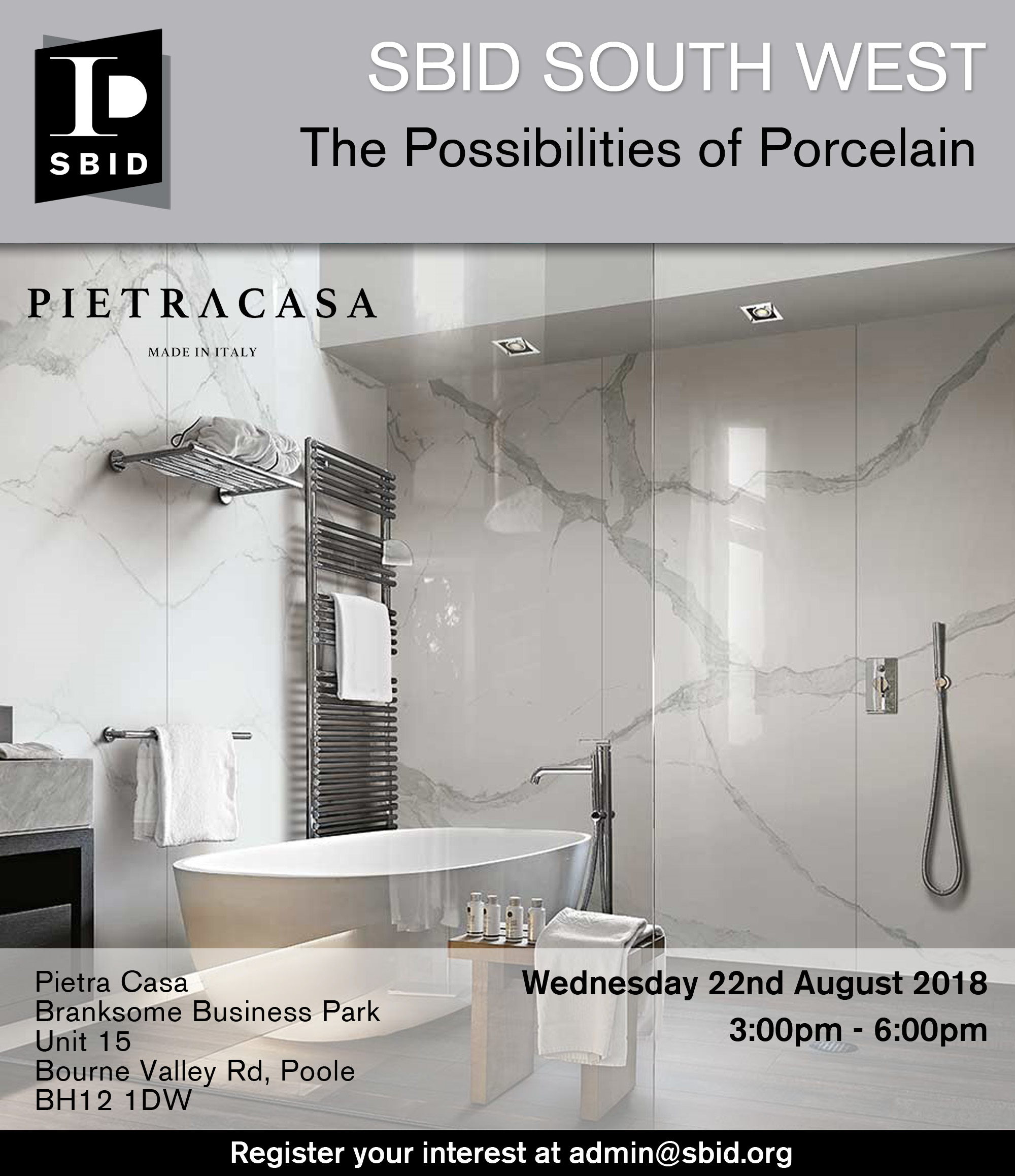 SBID South West interior design event invitation for The Possibilities of Porcelain