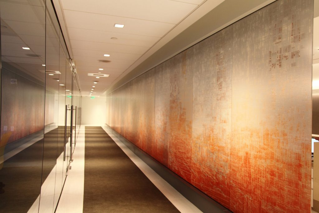 Office interior design image featuring LYK Shuli Sade Imprints in SBID blog about art in corporate spaces