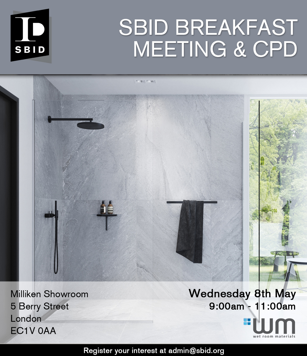 SBID Breakfast Meeting and CPD with Wet Room Materials interior design events 2019