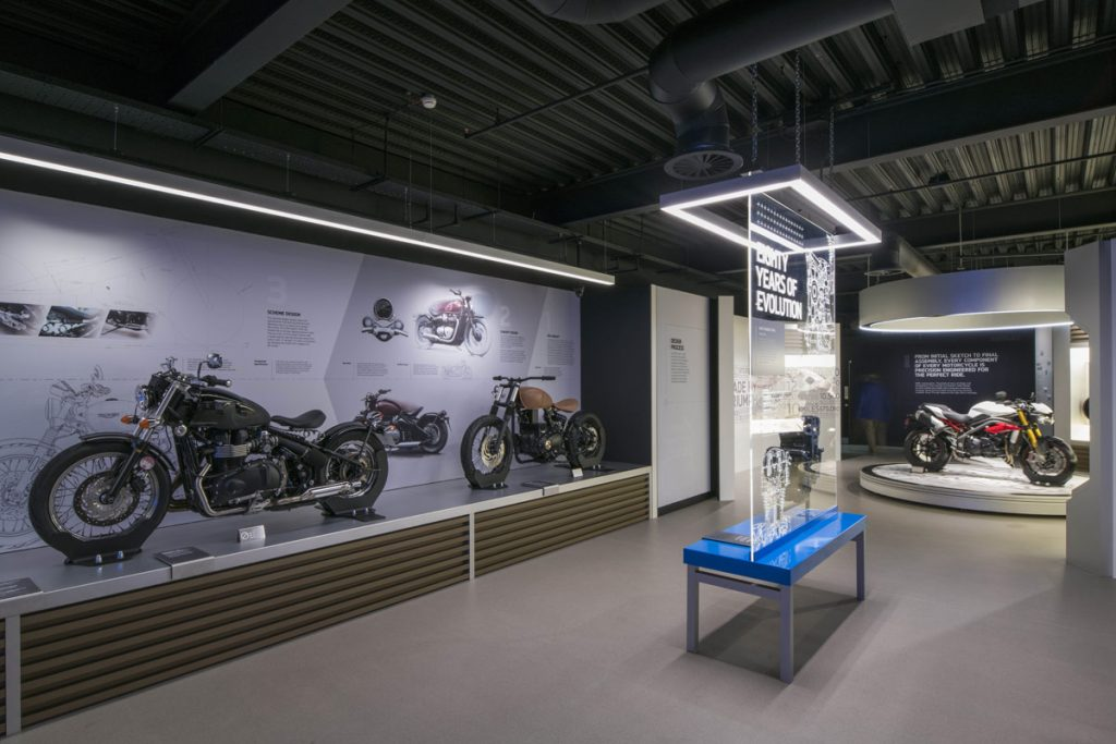 Studio MB, Triumph Factory Visitor Experience public space design project images for SBID interior design blog, Project of the Week