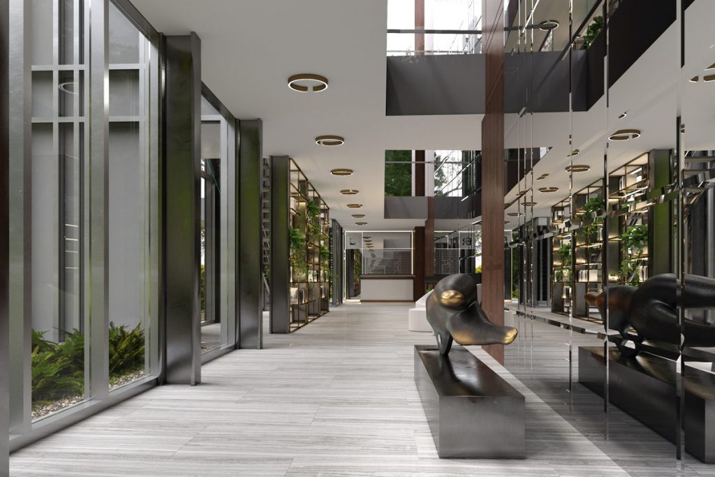 public space design, Gallery-Like Space Inspired by Surrounding Nature & Natural Materials
