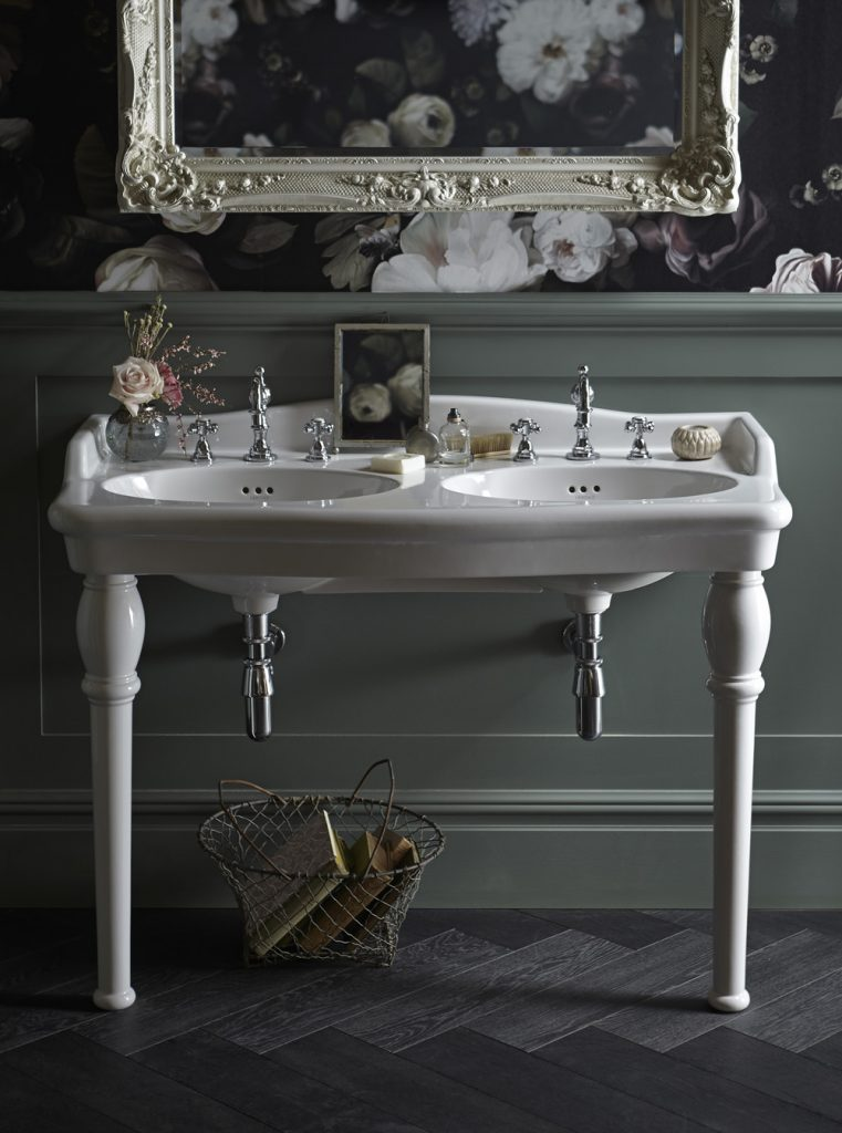 Bathroom Design article by Heritage Bathroom featuring an image of the Victoria Suite with Victoria Double Console Basin Hartlebury Taps and Bayswater Mirror