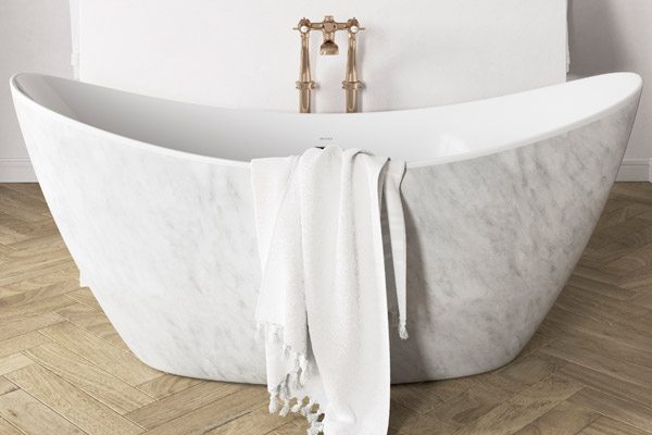Heritage Bathrooms marble bath product news feature for SBID interior design blog