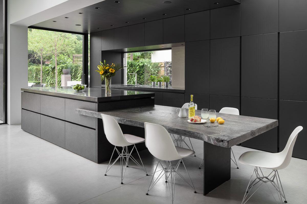 Sleek Kitchen Design Compliments Asymmetric Architecture