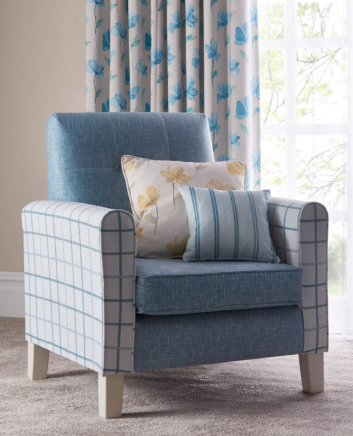 Bespoke fabric design blog by Bespoke by Evans featuring Evans Textiles bedroom scheme armchair detail